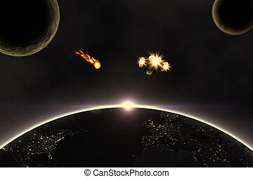 Planets, Asteroid and spaceship - Abstract scientific space...