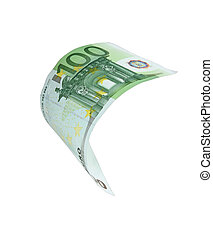 Falling Euro money note