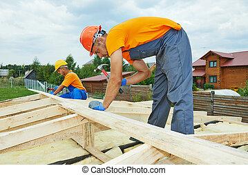 carpintero, trabajadores, techo