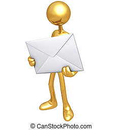 Holding An Envelope - 3D Concept And Presentation Figure