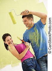 Playful fun couple.