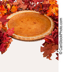 Festive Pumpkin Pie - Pumpkin pie with autumn leaves decor
