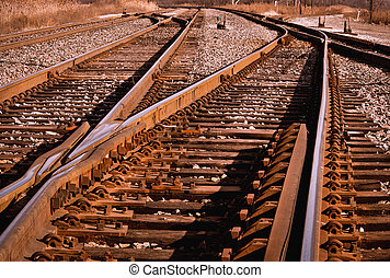 Railroad Tracks - Rail switches in yard off mainline