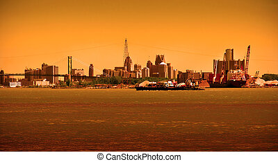 Detroit Skyline on River - Detroit cityscape at dawn on...
