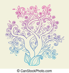 Flowering tree - Vector background with decorative flowering...