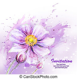 Japanese Anemones flower Watercolor