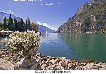 Garda Lake, Italy - Garda lake at Riva del Garda, Italy, on...
