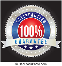 100 percent satisfaction guarantee badge, vector format