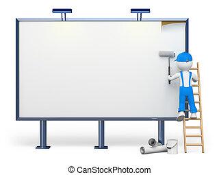 3D white people. Blank billboard - 3d white people. Worker...