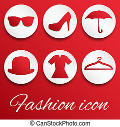 Red fashion realistic button set