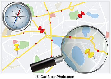 City Map with compass and loupe - Travel concept with city...