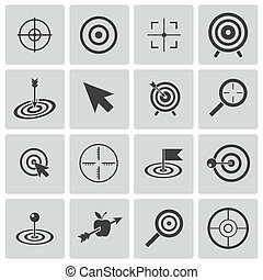 Vector black target icons set
