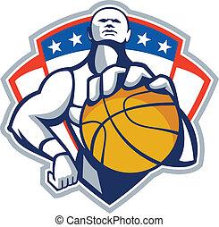 Basketball Player Holding Ball Crest Retro - Illustration of...