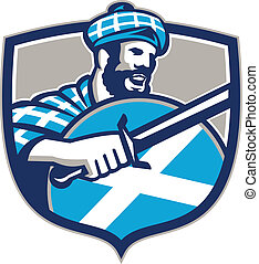 Highlander Scotsman Sword Shield Retro - Illustration of a...