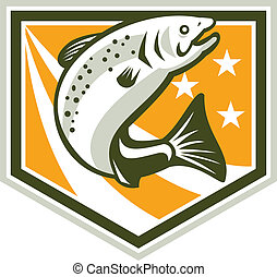 Trout Jumping Retro Shield - Illustration of a trout fish...