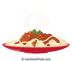 spaghetti bolognese - an illustration of a red plate with a...