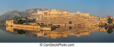 Panorama of Amer Amber fort, Rajasthan, India - Famous...