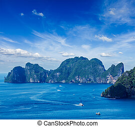 Aerial view of Phi Phi Leh island in Andaman Sea, Krabi...