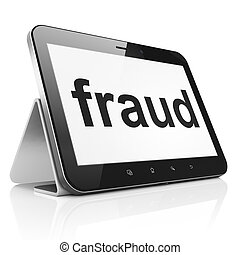 Safety concept: Fraud on tablet pc computer