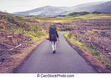 Backpacker walking along the road in mountain landscape
