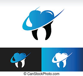 Swoosh Dental Care Icon - Dental care icon with swoosh...