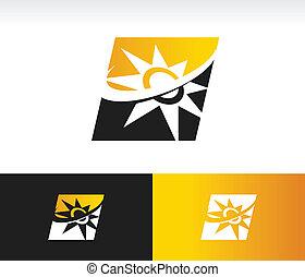 Swoosh Solar Power Panel Icon - Solar power panel icon with...