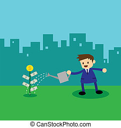 Businessman watering money plant