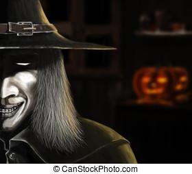 Digital painting of wizard, halloween concept