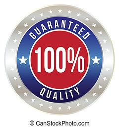 100 percent quality guaranteed badge, vector format