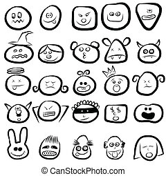 emotion faces icon set