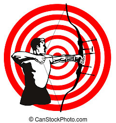 Archer Bow Arrow Target - Illustration of an archer with bow...