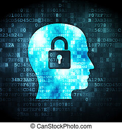 Information concept: Head With Padlock on digital background...