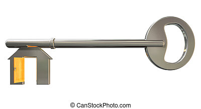 House Key With Open Door Insert - A front view of a concept...