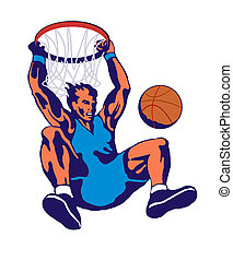 Basketball Player Dunking - Illustration of a basketball...