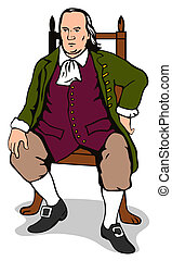 Ben Franklin Sitting Retro - Illustration of Ben Franklin...