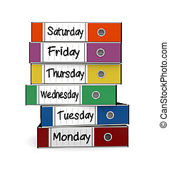 work week - one stack of office folders with the days from...