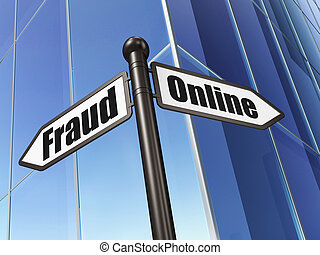Privacy concept: Online Fraud on Building background