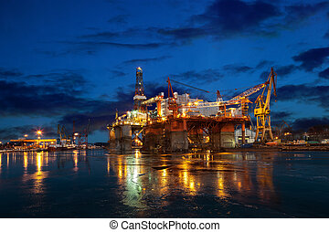 Offshore drilling platform in repair