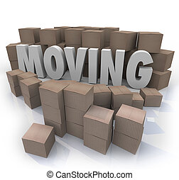Moving Word Cardboard Boxes Relocation Packed to Go - The...