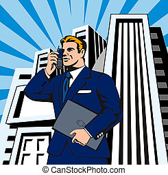 Businessman on the Phone with Laptop - Illustration of...