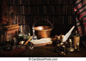 Alquimista, cozinha, ou, laboratório
