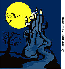Castle with Dead Tree - Illustration of castle with dead...