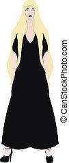 blonde in a black dress