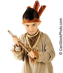 Young Indian with Tomahawk - Closeup of an elementary...