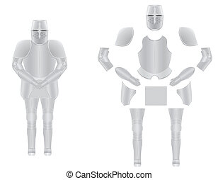 knight armor disassembled vector illustration isolated on...