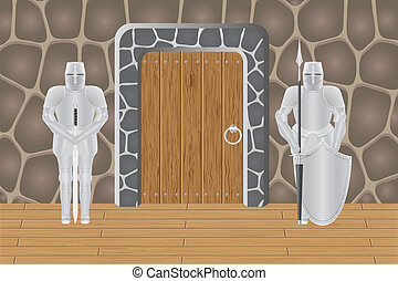 knights in castle guarding door vector illustration isolated...