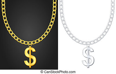 necklace with dolar sign - Necklace with dolar sign set....