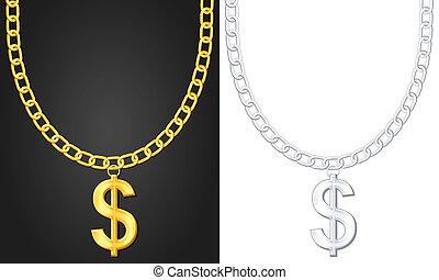 necklace with dolar sign - Necklace with dolar sign set....