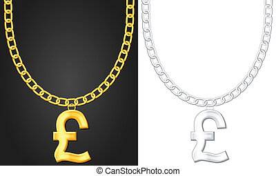 necklace with pound symbol - Necklace with pound symbol set...
