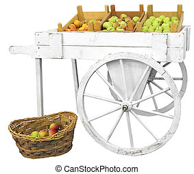 Cart with apples - Old wooden cart with apples isolated on...